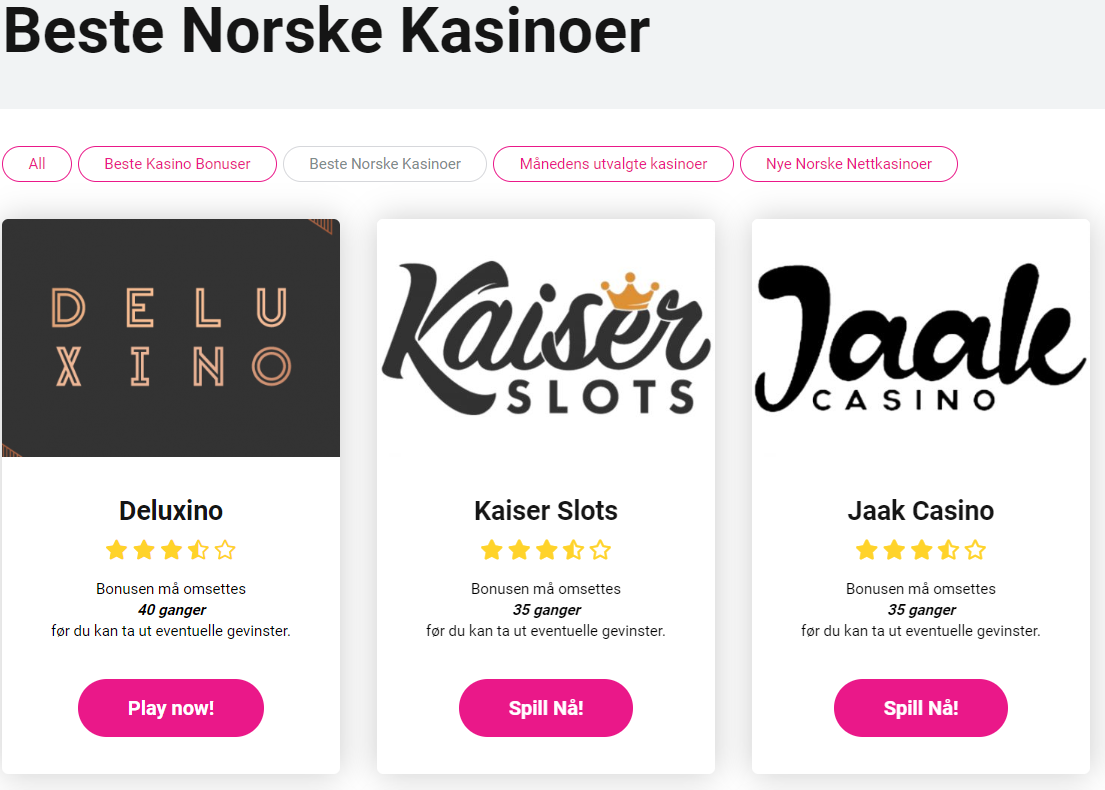 Spilleautomater Nettcasino Norge